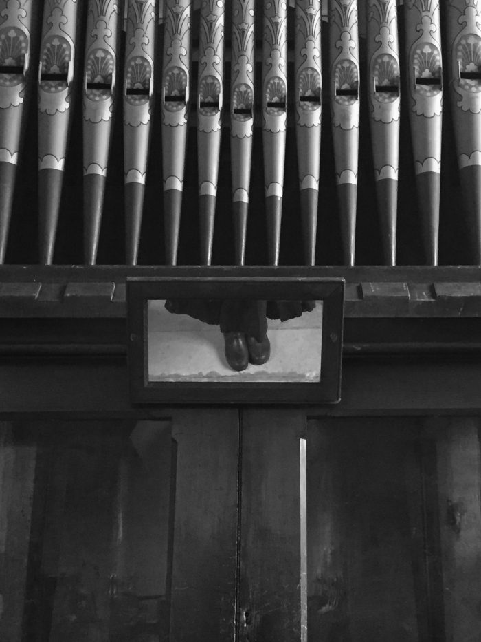 Church organ.  Mirror, and shoes. (March 2017)